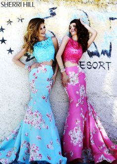 Sherri Hill 32073 - Blue & Pink Floral Print Two Piece Dress - RissyRoos.com