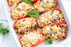 These Mexican Stuffed Bell Peppers are just incredible. Tim and I couldn't stop ourselves from eating. But there was no guilt, the ingredients in this dish are just all too good for you. I love the combination of all the flavors and freshness of the dish. And if you get any leftovers, you can always make burritos out of them! Recycle and reuse ;)