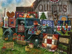 This is a 1000 piece jigsaw puzzle of quilts for sale. They are handmade and very colorful. Quilts for Sale 1000 Piece Jigsaw Puzzle by SunsOut - Jigsaw Puzzle Store, Puzzle Art, 1000 Piece Jigsaw Puzzles, Puzzle Drawing, Tractor Pictures, Quilt Display, Diamond Drawing, Antique Trucks, Hobby House