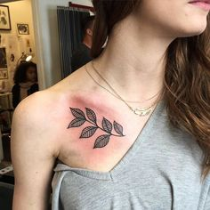 Image result for leaves collar bone tattoo