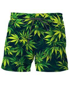 Microfiber Black Green Cannabis Leaf Solid Board Swim Mens Shorts Sporty
