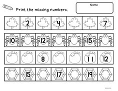 Fall Count to 20.  A center activity and worksheets focusing on number order to 20.