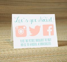 CUSTOM listing for ERIN -Let's Get Social Instagram Facebook Twitter My Wedding Hashtag Cards -Wedding Party Social Media Place Cards