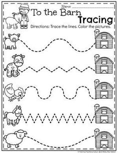 Farm Worksheets for Preschool - Barnyard Tracing Farm Animals Preschool, Farm Animal Crafts, Preschool Writing, Preschool Learning Activities, Preschool Themes, Preschool Printables, Preschool Farm Crafts, Tracing Practice Preschool, Worksheets For Preschoolers