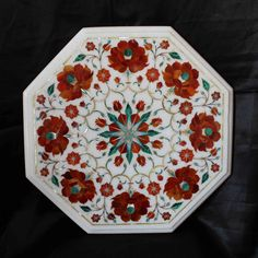 End table top marble inlay pietradura art hand made by MARBLEINLAY