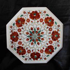 End table top marble inlay pietradura art hand made by MARBLEINLAY