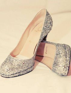 Every girl needs some sparkly heels. Sparkly Heels, Prom Heels, Glitter Heels, Silver Heels, Glitter Lips, Silver Glitter, Cute Shoes, Me Too Shoes, Stuffed Animals