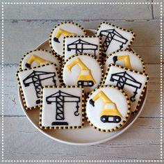 Excavator and tower crane cookies Graafmachine en hijskraan cookies