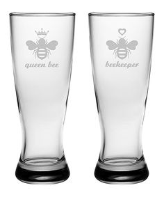 Look at this 'Queen Bee' Pilsner Glass - Set of Two by Susquehanna Glass Honey Packaging, Buzz Bee, I Love Bees, Bee Sting, Bee Jewelry, Bee Art, Bee Happy, Bees Knees, Partners In Crime