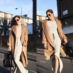 Hoy llevo: Vestido de George Rech (similar), abrigo de Max Mara (similar), mochila de DVF (similar), zapatillas de Isabel Marant (similar) y gafas de sol de Ray-Ban