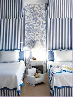 Kid's room with toile.  It never goes out of style.