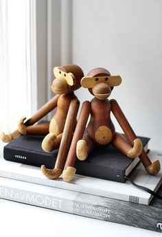 Just looking at his sweet face and silly limbs makes me smile. #graylabel #monkey #wood in Toys