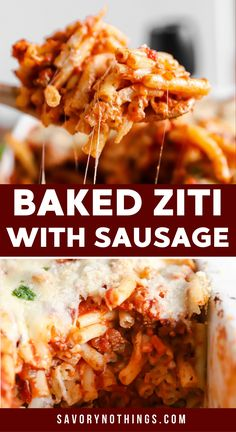 With a homemade meat sauce, a creamy layer and plenty of cheese, this Baked Ziti pasta casserole is one of those meals you'll want to make again and again! It's easy to prep ahead and reheat - and it freezes really well, too. | #casserole #recipe #dinner #makeahead #freezermeal Sausage Recipes, Pork Recipes, Pasta Recipes, Pasta Meals, Pasta Casserole, Casserole Recipes, Baked Ziti With Sausage, Dinner Options, Dinner Ideas