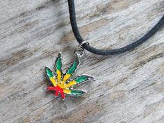 Rasta Dangle Pot Leaf Necklace, Red Yellow Green Enamel MJ Leaf, Unisex Pot Jewelry, Swarovski Crystal Birthstone Option, Hippie