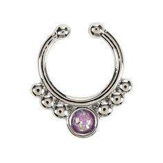 Silver Purple Opal Faux Septum Hot Topic ($5.20) ❤ liked on Polyvore featuring jewelry, piercing, artificial jewellery, artificial jewelry, fake jewelry, imitation jewellery and silver jewelry
