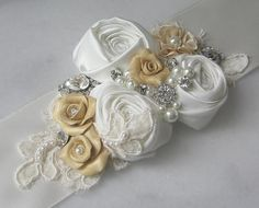 Ivory and Champagne Gold Bridal Sash Yellow by TheRedMagnolia, $148.00