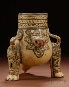 Pottery; Pre-Columbian, Costa Rica, Urn, Jaguar Form, 11 inch.