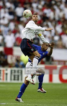 David Beckham of England rises above Roberto Carlos of Brazil during the FIFA World Cup Finals 2002 Quarter Finals match played at the Shizuoka Stadium Ecopa, in Shizuoka, Japan on June Brazil won the match DIGITAL