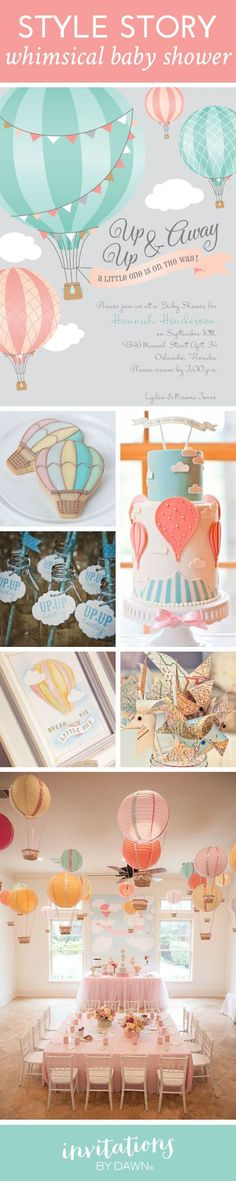 Style Story: Whimsical Baby Shower with a Hot Air Balloon Theme. #hotairballoon