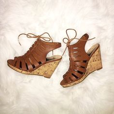 • brown caged cork wedge • Tie closure and semi-elastic heel band adds extra comfort to these beauties! Only tried on - never worn out. In new condition, no damage. Size 8.5; true to size. Madden Girl Shoes Wedges