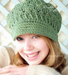 Crochet Hat Pattern Womens Newsgirl Newsboy Slouchy Hat PDF 160 12 Month to Adult Photo Prop Instant Download
