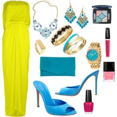 Neon and blue by metrobasics on Polyvore featuring Lanvin, Gianvito Rossi, Cole Haan, Charter Club, Michael Kors, House of Harlow 1960, Roberta Chiarella, Christian Dior, Sunday Riley and Butter London