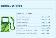 Precio de los combustibles para la Semana del 6 al 12 de Junio del 2015 en la República Dominicana.