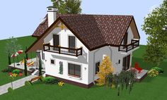 case-frumoase-beautiful-house-plans-9 Beautiful House Plans, Beautiful Homes, Tree Bedroom, Bird House Kits, Cottage Style Homes, Small House Design, Design Case, Traditional House, Home Fashion