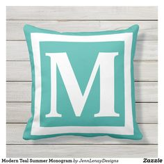 Create Your Own, Create Yourself, Outdoor Throw Pillows, Favorite Color, Plush, Teal, Monogram, Modern, Summer