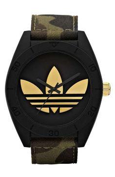 Love the Adidas Originals adidas Originals 'Santiago XL' Camo Strap Watch on Wantering.