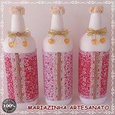 Garrafas decoradas #artesanato #handmade #reciclagem #garrafasdecoradas #mariazinhaartesanato #vermelhoebranco #garrafascomtecido