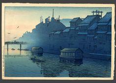 Morning at Dotonbori in Osaka • 1921 • 10.375 x 15.5 • Woodblock Print • INV. #07081849 • Rare pre-earthquake design. Hotei # 55