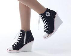 Converse heels the top option to get you going converse heels wedges trainers heels sneakers platform high top ups zip boots converse ZFRWSNU Converse High Heels, Converse Wedges, High Heel Sneakers, Sneaker Heels, High Heel Boots, Converse Sneakers, Black Converse, Wedged Sneakers, Men Sneakers