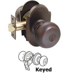 Keyed Knobs and Levers Hardware - Keyed Providence Knob With #8 Rosette in Oil Rubbed Bronze - Emtek Hardware 5108PUS10B