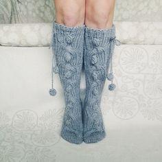Knee high Socks Hand knit socks Wool socks Warm winter socks Christmas gift