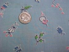 """Vintage Antique Cotton Quilt Doll Fabric Print 30s tiny floral on Blue 35"""" wd"""