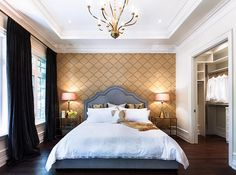 """Bedroom. Bedroom Design. Bedroom with elegant decor. Notice the wallpaper and chic """"velvet draperies"""".!!!!!!!  For your living room!"""