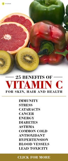 Vitamin C has many benefits for the skin, hair and health. Here is a list of the 25 such benefits of Vitamin C.