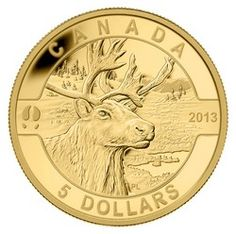 Royal Canadian Mint $ 5 2013 moneda de oro puro - Serie O Canadá - El caribú $ 279.95 monedas de oro ocanada caribú
