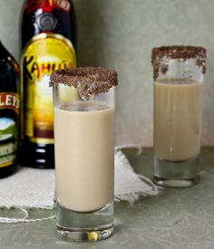 1/2 oz. Kahlua, 1/2 oz. Bailey's Irish Cream, 1/2 oz. Peppermint Schnapps. Rim the glass with Chocolate Sprinkles or a flavored sugar of your choice, Pour the alcohol in a cocktail shaker filled with ice, Shake until well mixed and strain into a tall shot glass