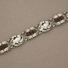 Georg Jensen Sterling Silver Bird Bracelet with Carnelian No. 14 by Kristian Mohl-Hansen, Handmade Sterling Silver - Gallery 925