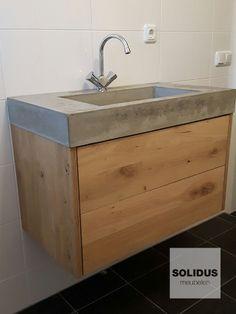 Badkamermeubel hout en beton | Badkamermeubel van hout en beton ...