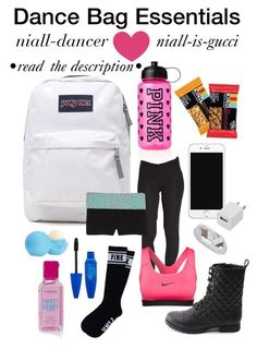 """Dance Bag Essentials"" by niall-dancer ❤ liked on Polyvore:"