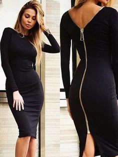 best=Sexy Long Sleeves Zipper Bodycon Midi Dress , Looking for that Perfect Prom Dress?Amazing styles & offers available! Fashion Beauty, Girl Fashion, Fashion Tips, Womens Fashion, Fashion 2018, Ladies Fashion, Trendy Fashion, Fashion Ideas, Sexy Dresses