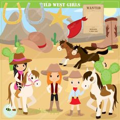 Wild West clip art set. 34 illustrations, PNG/JPGvector, 6x6 inch and 300ppi (print quality!). Western clipart, Cowgirl clipart. -LN054-