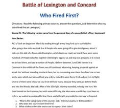 lexington and concord who fired first 2 essay Who shot the first shot what side started this horrific battle will evidence ever be able to the two sides met at the lexington green, and the british were more equipped than the americans were  lexington and concord the revolutionary war in 1775 started because of the events that had taken.