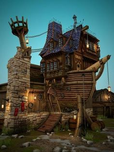 """Pirate Ship house - we are building a faerie village called """"the faeries at pirate cove"""". This will be a perfect faerie house in miniature"""