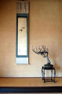 tokonoma - japan  床の間 detailed stand w/ Curved legs & feet detail, hung kanji scroll w/ blue background matting