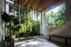 NISHIZAWAARCHITECTS has completed its own architecture studio beneath a six storey house in ho chi minh city, vietnam. Patio Central, Modern Townhouse, Journal Du Design, Tropical Vibes, Ho Chi Minh City, Pent House, Backyard, House Design, Contemporary