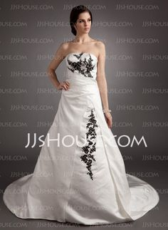 Wedding Dresses - $175.49 - Ball-Gown Strapless Court Train Satin Wedding Dresses With Embroidery Ruffle Beadwork Sequins (002012062) http://jjshouse.com/Ball-Gown-Strapless-Court-Train-Satin-Wedding-Dresses-With-Embroidery-Ruffle-Beadwork-Sequins-002012062-g12062